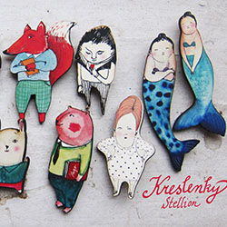 brože Stellion - kolekce Kreslenky / brooches Stellion - Kreslenky collection
